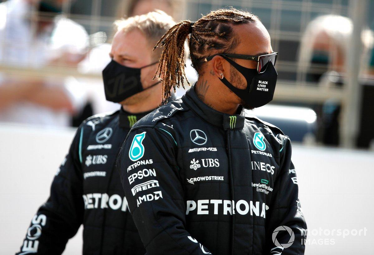 Valtteri Bottas, Mercedes W12 y Lewis Hamilton, Mercedes W12