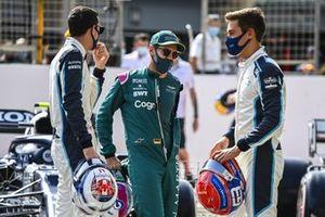Nicholas Latifi, Williams, Sebastian Vettel, Aston Martin, and George Russell, Williams