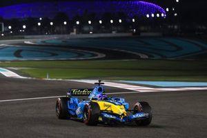 Fernando Alonso drives his 2005 Championship winning Renault F1 Team R25