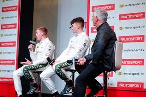 Derek Warwick on stage with 2019 Aston Martin Autosport BRDC Young Driver Award nominees Jonathan Hoggard and Ayrton Simmons