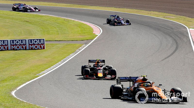 Lando Norris, McLaren MCL34, precede Alex Albon, Red Bull RB15, e Lance Stroll, Racing Point RP19