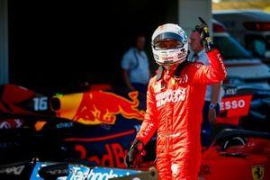 Pole Sitter Sebastian Vettel, Ferrari celebrate in Parc Ferme