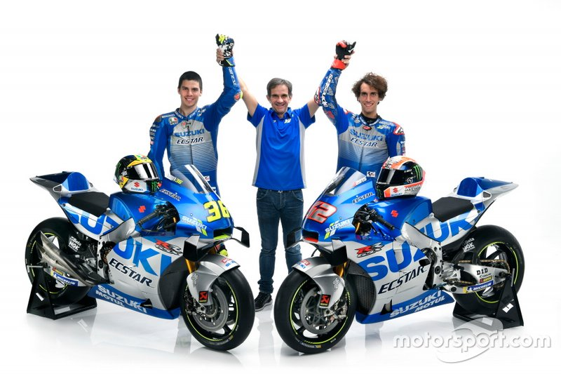 Joan Mir, Alex Rins, Team Suzuki MotoGP and Davide Brivio, Team manager Team Suzuki MotoGP