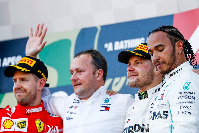 Sebastian Vettel, Ferrari, Eric Blandin, Chief Aerodynamicist, Mercedes AMG, Valtteri Bottas, Mercedes AMG F1, 1st position, and Lewis Hamilton, Mercedes AMG F1, 3rd position, on the podium