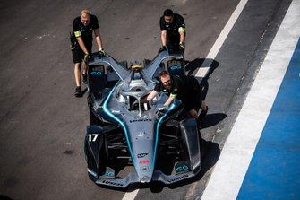 Mechanics push the Nyck De Vries, Mercedes Benz EQ, EQ Silver Arrow 01 through the pit lane