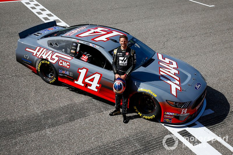 Romain Grosjean, Haas F1 Team Team, poses with a NASCAR