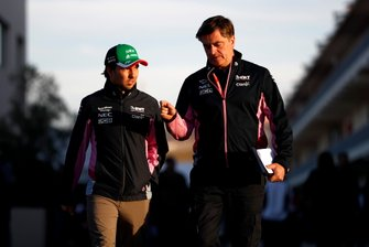 Sergio Perez, Racing Point, and Andy Stevenson, Sporting Director, Racing Point