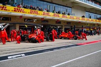 Sebastian Vettel, Ferrari SF90, and Charles Leclerc, Ferrari SF90