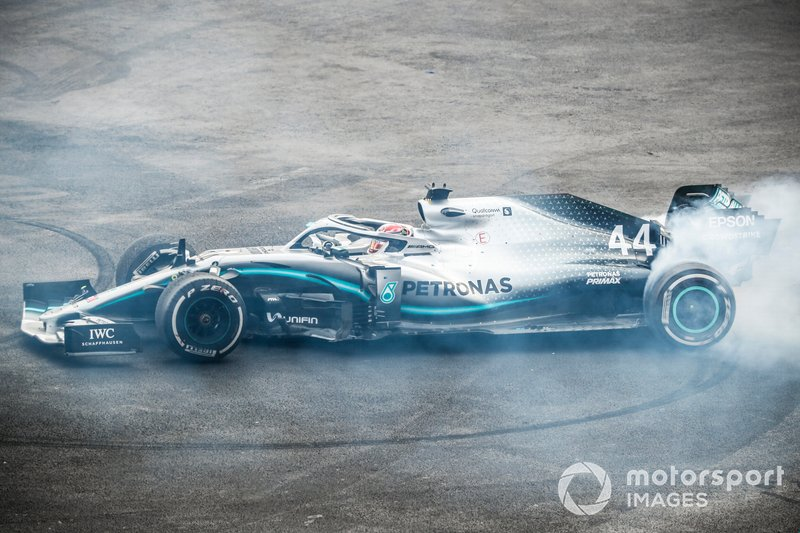 Race winner Lewis Hamilton, Mercedes AMG F1 W10 performs a donut