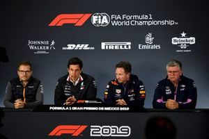 Andreas Seidl, Team Principal, McLaren, Toto Wolff, Executive Director (Business), Mercedes AMG, Christian Horner, Team Principal, Red Bull Racing and Otmar Szafnauer, Team Principal and CEO, Racing Point in the Press Conference