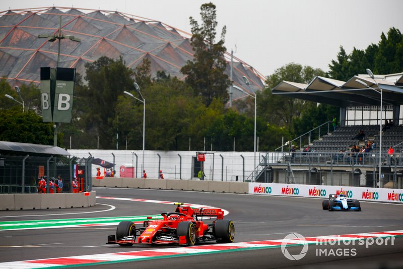 Charles Leclerc, Ferrari SF90, leads Nicholas Latifi, Williams FW42