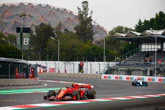 Charles Leclerc, Ferrari SF90, leads Nicholas Latifi, Williams FW42
