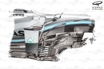 Mercedes AMG F1 W10, barge board Japanese GP