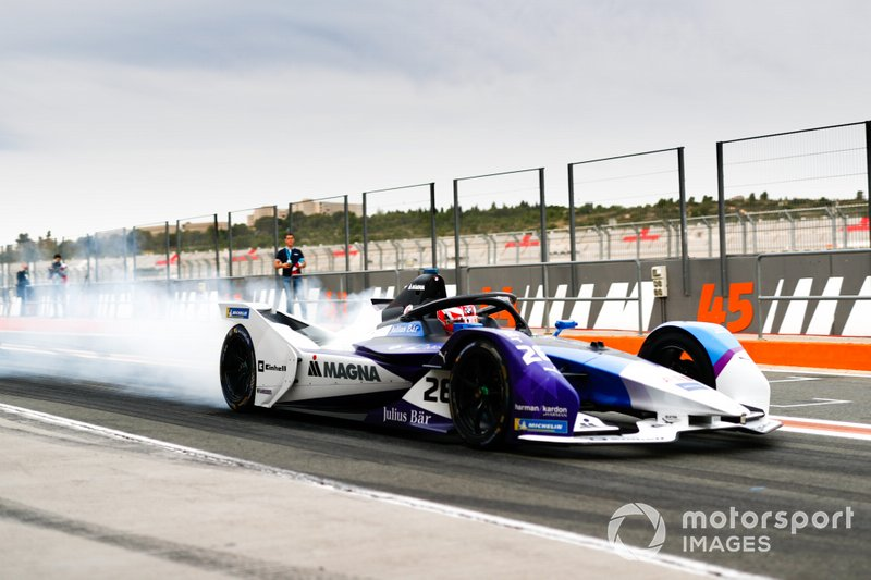 Maximillian Gunther, BMW I Andretti Motorsports, BMW iFE.20, burn out in the pit lane