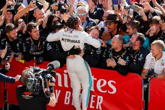 Lewis Hamilton, Mercedes AMG F1, celebrates winning his sixth world championship in parc ferme