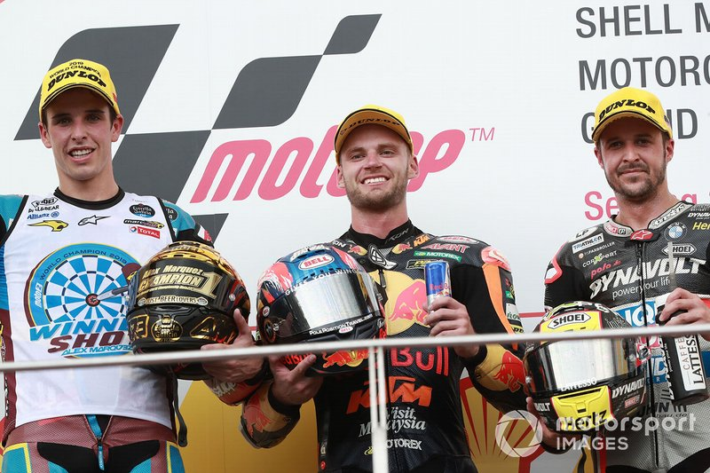 Podio: Brad Binder, KTM Ajo, secondo classificato Alex Marquez, Marc VDS Racing, terzo classificato Thomas Luthi, Intact GP, gara Moto2