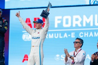 Stoffel Vandoorne, Mercedes Benz EQ, 3rd position, celebrates with his trophy on the podium