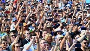 Fans gather for the podium ceremony