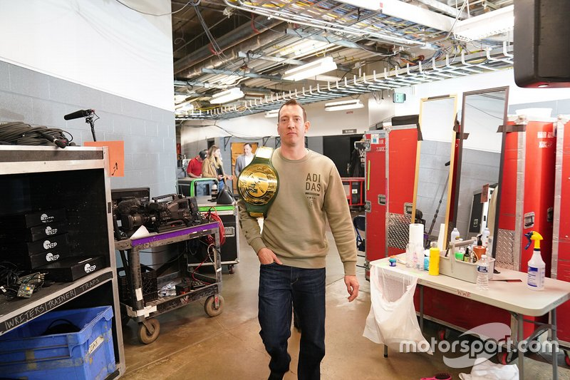 Kyle Busch with WWE 24/7 championship