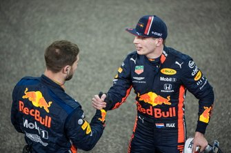Max Verstappen, Red Bull Racing, 2nd position, celebrates with a team mate