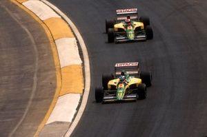 Mika Hakkinen, Lotus 102D led Johnny Herbert, Lotus 102D around the Peralta curve
