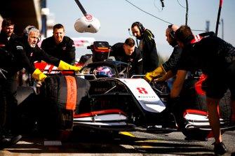 Romain Grosjean, Haas VF-20 being pushed into the garage by mechanics