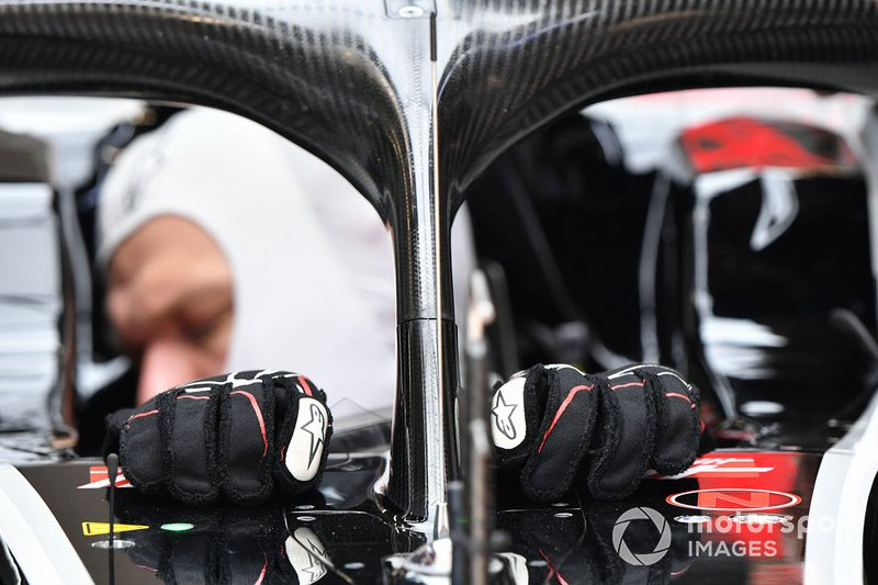 Detail of Kevin Magnussen's Haas F1 gloves