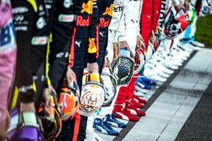 Helmets of drivers during all driver photoshoot