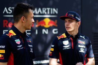Alex Albon, Red Bull Racing, and Max Verstappen, Red Bull Racing