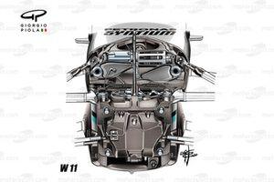 Mercedes AMG F1 W11 front suspension detail