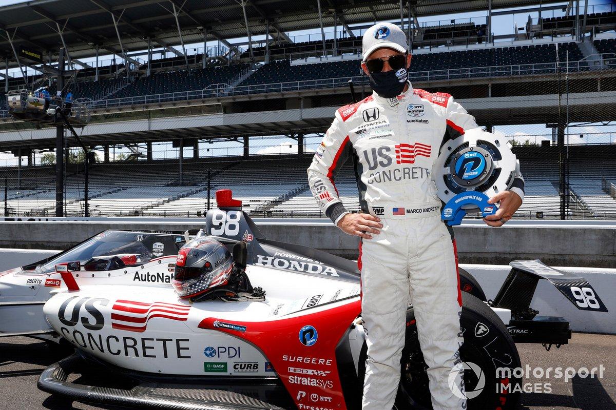Marco Andretti, Andretti Herta with Marco & Curb-Agajanian Honda festeggia dopo aver conquistato la pole