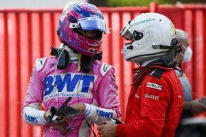 Lance Stroll, Racing Point, en Sebastian Vettel, Ferrari