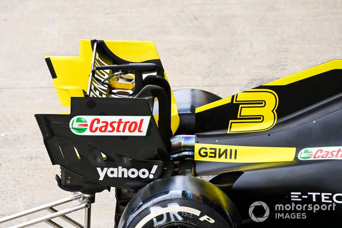 El ala trasera del monoplaza de Daniel Ricciardo, Renault F1 Team R.S.20