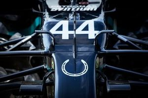 The Lewis Hamilton, Mercedes F1 W11 with a horse shoe symbol on the nose, in tribute to Sir Stirling Moss
