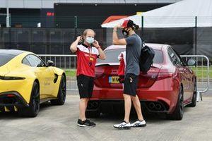 Antonio Giovinazzi, Alfa Romeo exits his Giulia with Josef Leberer