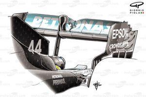 Detalle del alerón trasero del Mercedes F1 W11 en el GP británico
