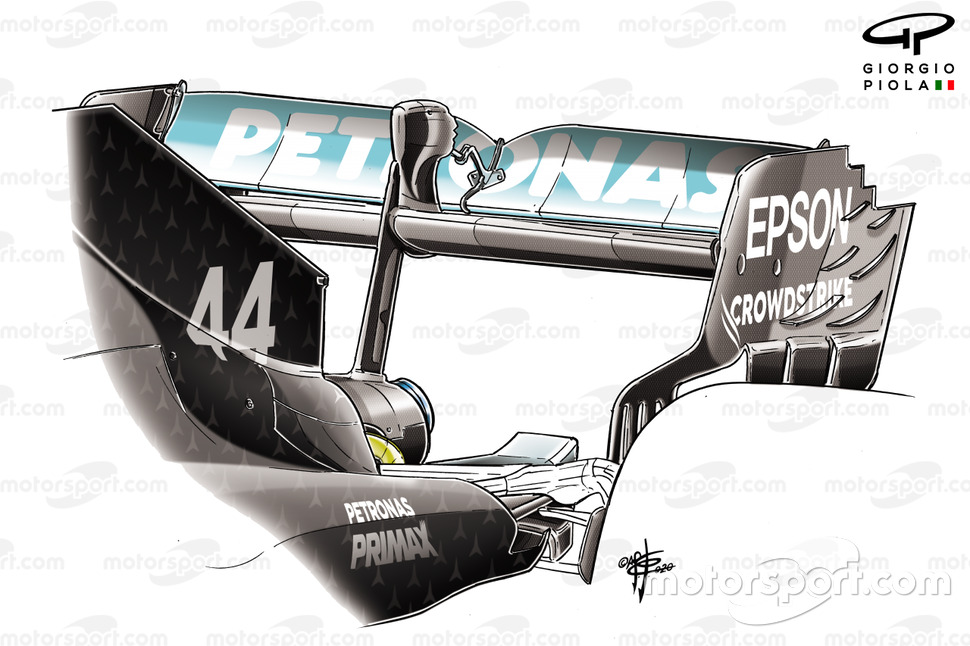 Mercedes F1 W11 rear wing detail British GP