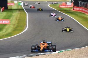Carlos Sainz Jr., McLaren MCL35, Daniel Ricciardo, Renault F1 Team R.S.20, Lando Norris, McLaren MCL35, and Lance Stroll, Racing Point RP20