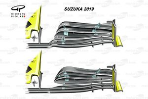 Renault R.S.19 front wing comparison Japanese GP