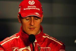 Michael Schumacher, Ferrari en la conferencia de prensa post carrera