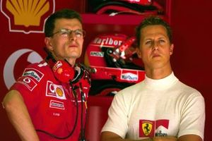 Michael Schumacher, Ferrari with his race engineer Chris Dyer