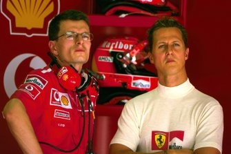 Michael Schumacher, Ferrari con su ingeniero de carrera Chris Dyer