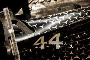 La carrocería del monoplaza de Lewis Hamilton, Mercedes F1 W11 EQ Performance