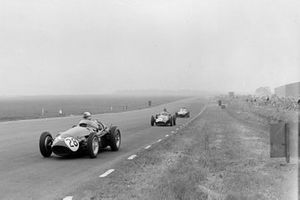 Roy Salvadori, Maserati 250F, Mike Hawthorn, BRM P25, and Harry Schell, Vanwall