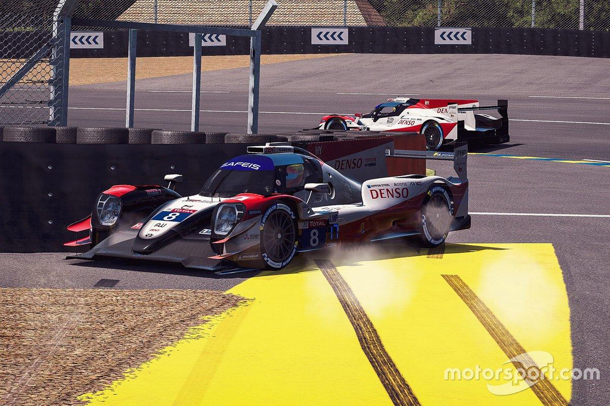 #8 Toyota Gazoo Racing Oreca 07 LMP2: Sebastien Buemi, Brendon Hartley, Kenta Yamashita, Yuri Kasdorp, crash