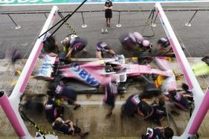 The Racing Point team practise a pit stop using the Lance Stroll Racing Point RP20