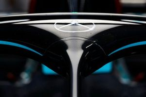 The Mercedes logo on the halo of a Mercedes F1 W11