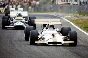 George Eaton, BRM P153, leads Graham Hill, Lotus 49C Ford