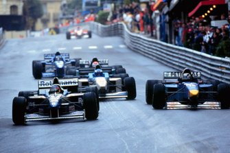 Jacques Villeneuve, Williams FW18 Renault leads Johnny Herbert, Sauber C15 Ford