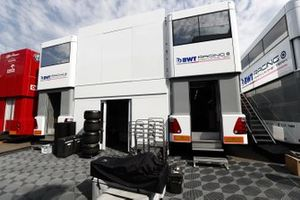 Racing Point transporters in the garage